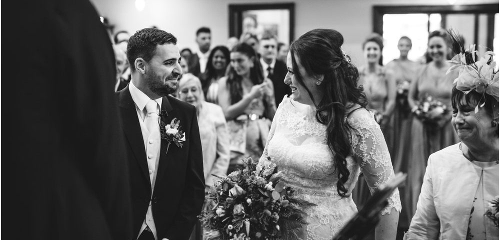 black and white wedding image in x venue by Staffordshire wedding photographer garteh nwestead