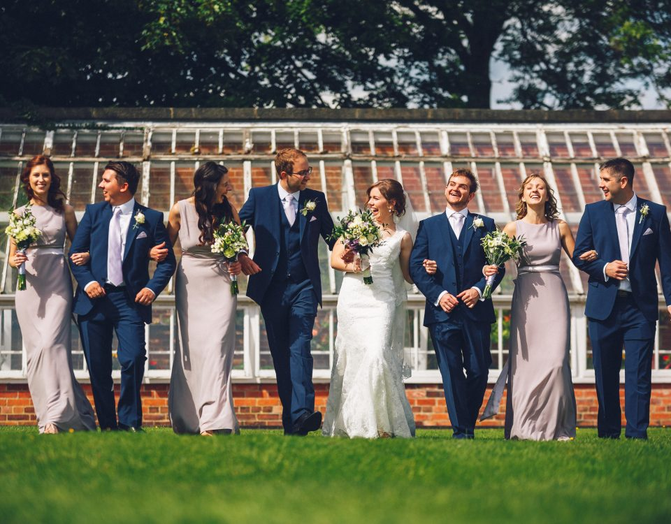 bridal party fun group shot at Yeldersley Hall Wedding