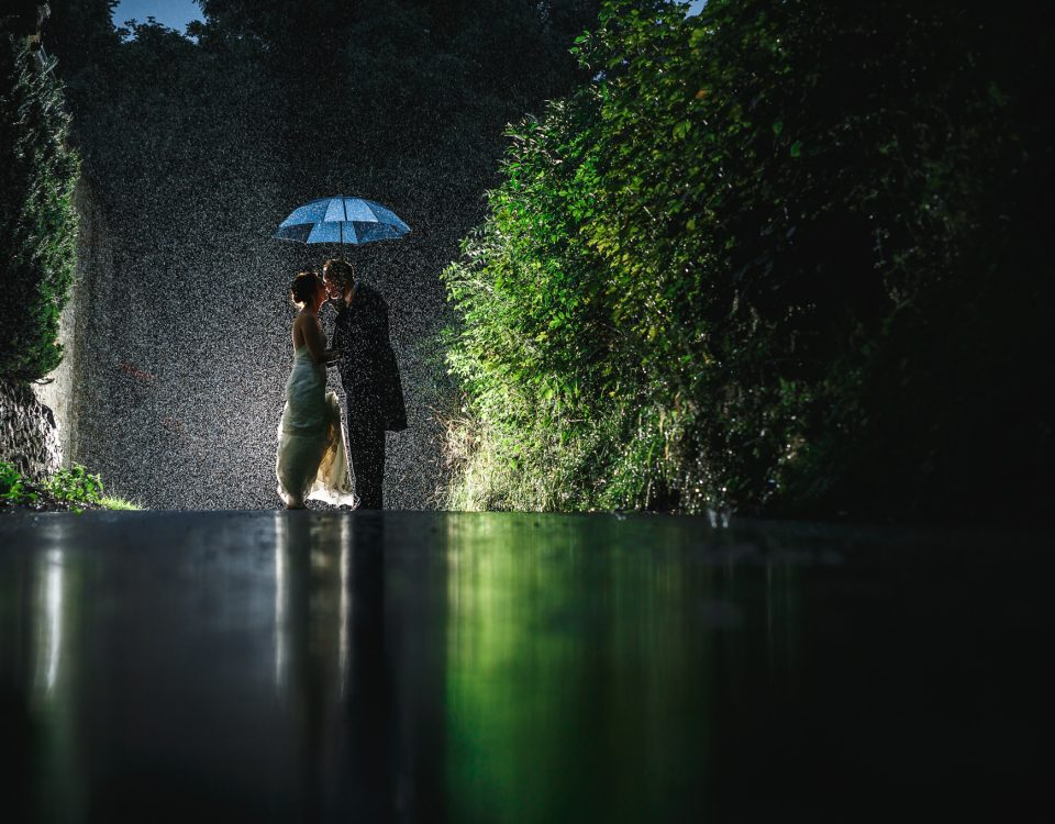New mr and mrs photo shoot in the rain at Losehill House Hote weddingl