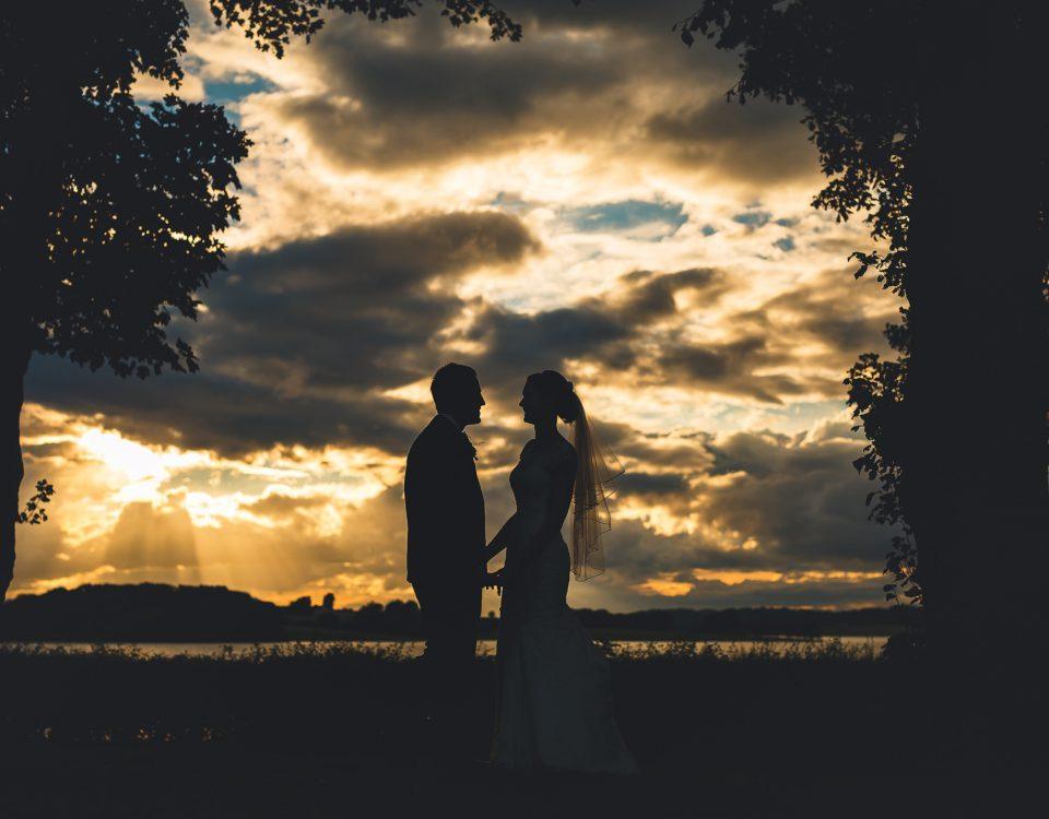 Normanton Park Hotel Wedding sunset photo of bride and groom silhouette