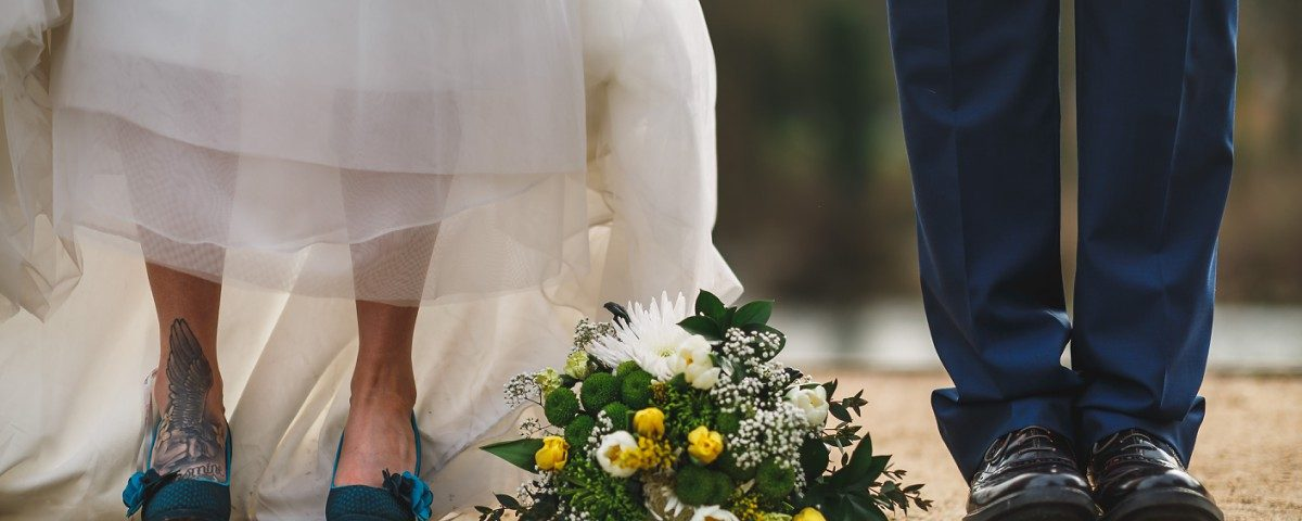 Bride and groom shoe shot West Mill wedding photographer