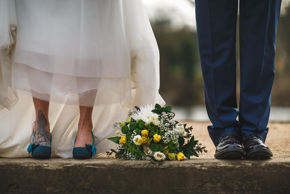Bride and groom shoe shot West Mill wedding photographer