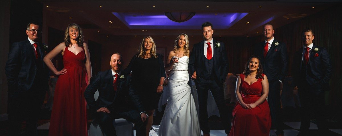 Wedding party composite formal shot Branston Golf Club