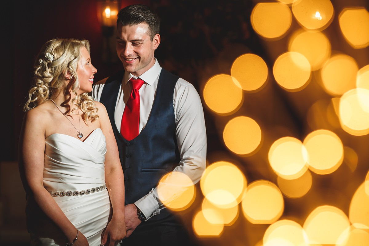 bride and groom looking at each other romantic Branston Golf club wedding