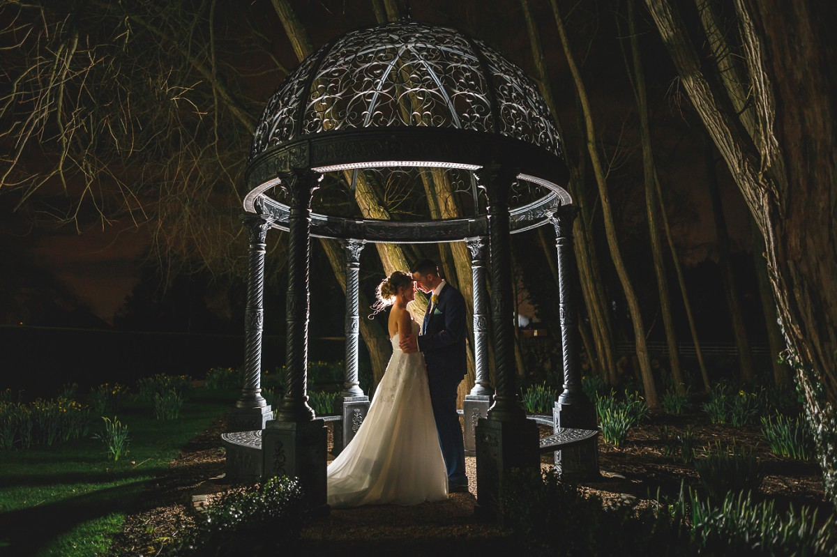 Bride and groom nighttime couple shot West Mill wedding photographer