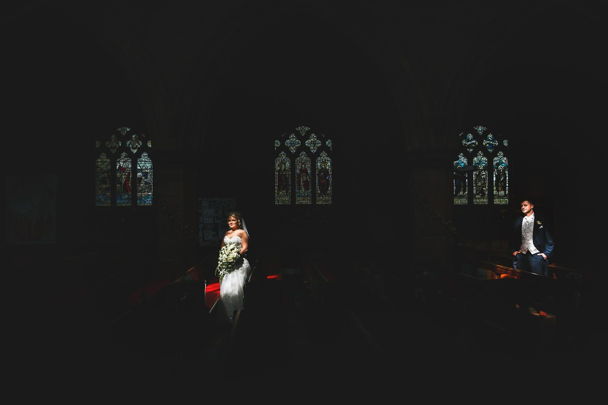 church sun highlight newlyweds country club wedding photography