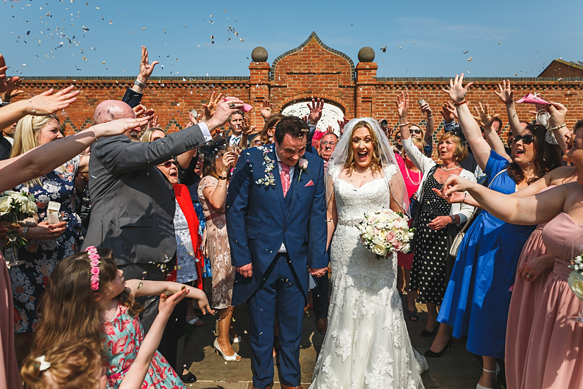 alrewas hayes wedding photography confetti shot with guests