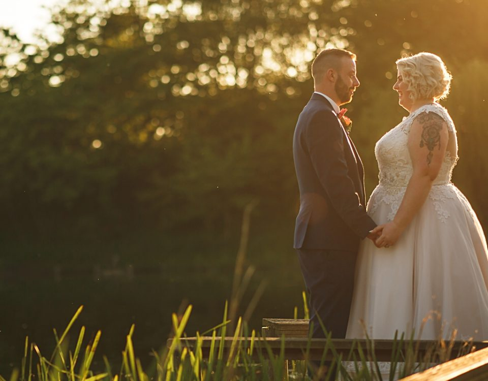 sunset shot of newlyweds at coopers arms