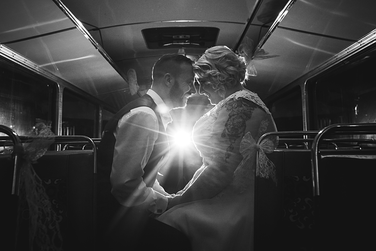 Vintage bus Coopers Arms wedding photography