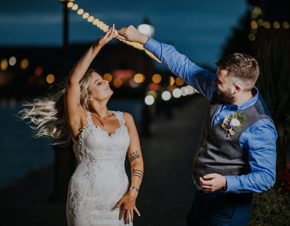 barton marina wedding photography newlyweds dancing