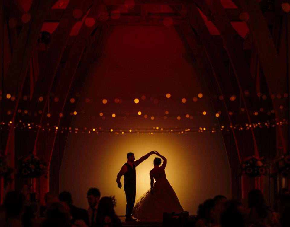 silhouette newlyweds mill barns wedding photography