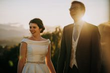 bride and groom sunset lake district wedding photography